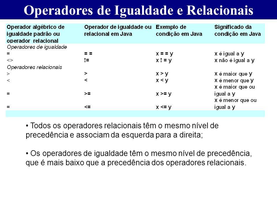 Operadores de Igualdade e Relacionais Todos os operadores relacionais têm o mesmo nível de precedência e associam da esquerda para a direita; Os opera
