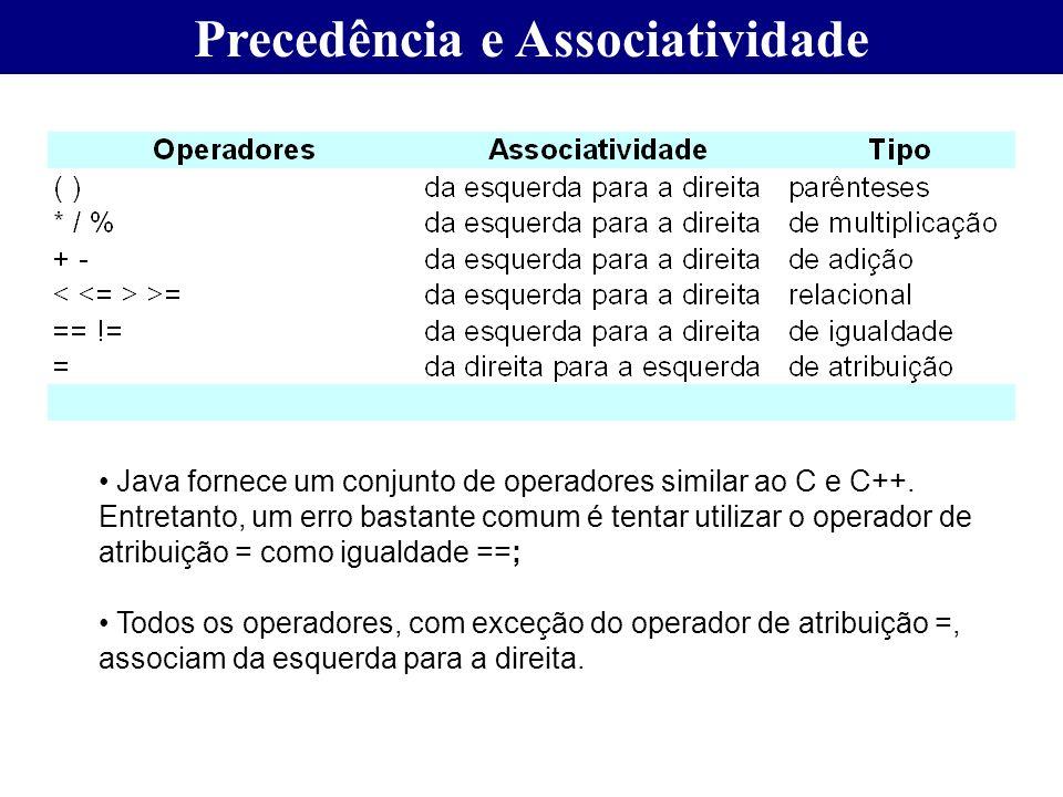 Precedência e Associatividade Java fornece um conjunto de operadores similar ao C e C++. Entretanto, um erro bastante comum é tentar utilizar o operad