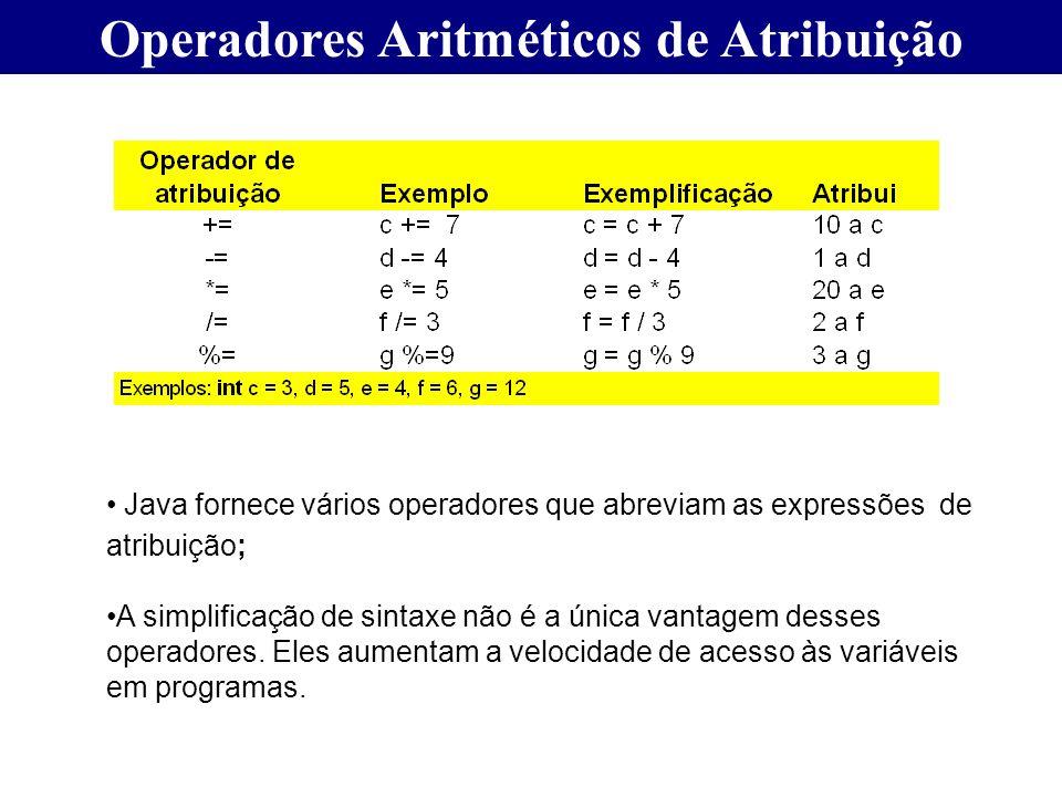 Operadores Aritméticos de Atribuição Java fornece vários operadores que abreviam as expressões de atribuição; A simplificação de sintaxe não é a única