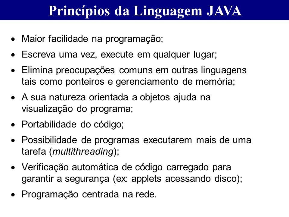 Maior facilidade na programação; Escreva uma vez, execute em qualquer lugar; Elimina preocupações comuns em outras linguagens tais como ponteiros e ge