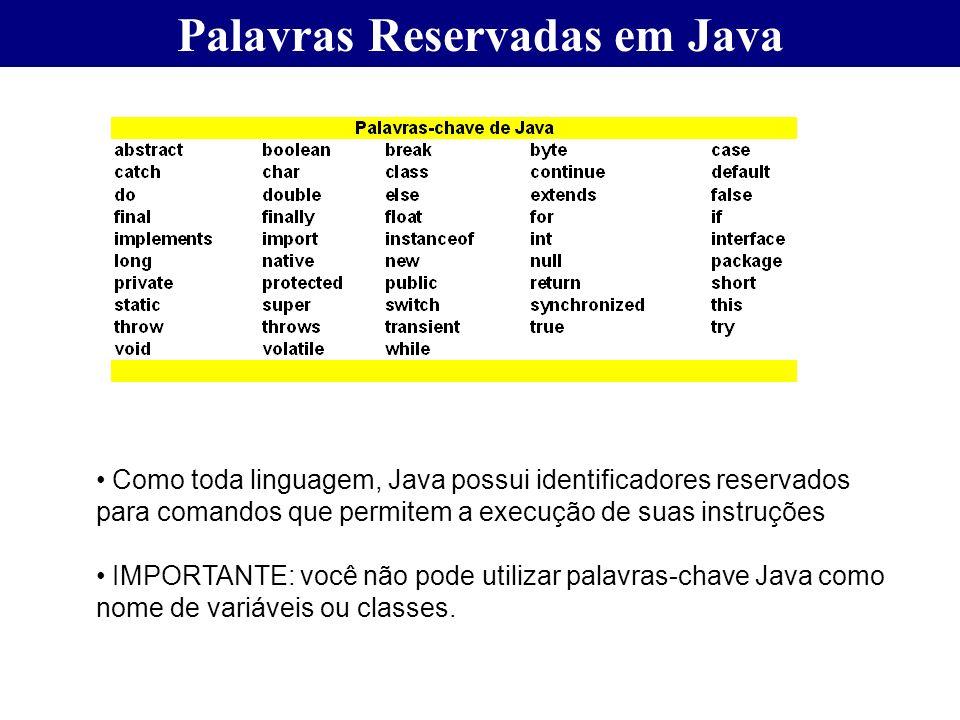 Palavras Reservadas em Java Como toda linguagem, Java possui identificadores reservados para comandos que permitem a execução de suas instruções IMPOR