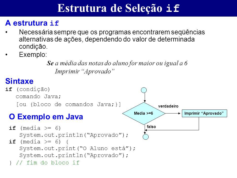 Estrutura de Seleção if A estrutura if Necessária sempre que os programas encontrarem seqüências alternativas de ações, dependendo do valor de determi