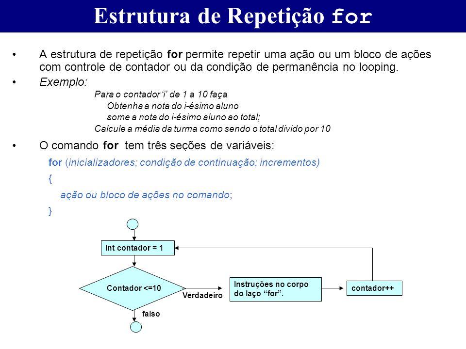 Estrutura de Repetição for A estrutura de repetição for permite repetir uma ação ou um bloco de ações com controle de contador ou da condição de perma