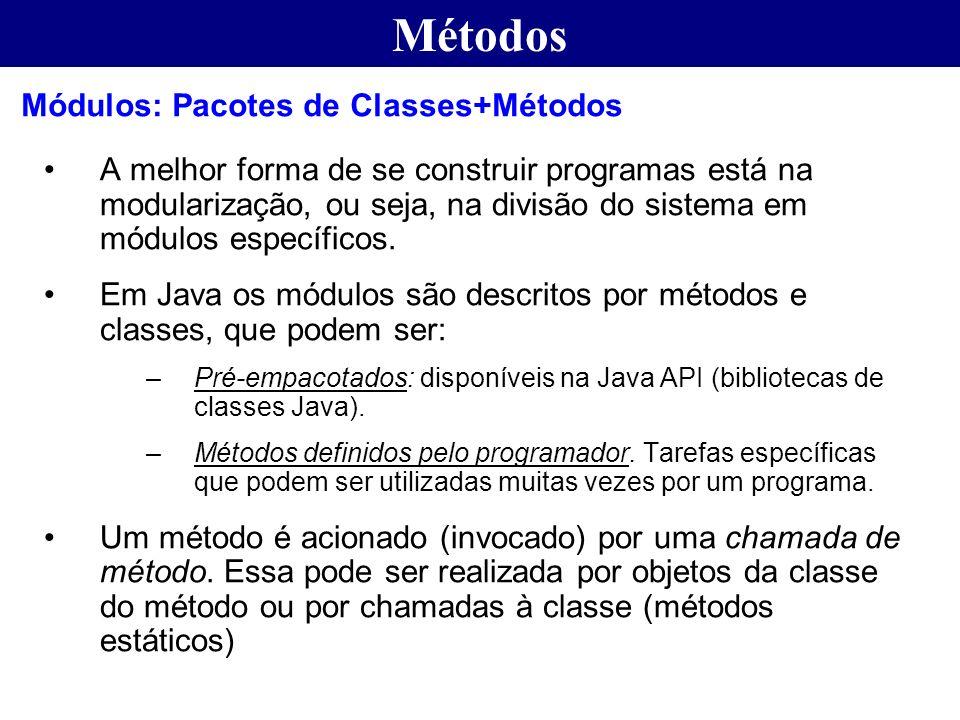 Métodos A melhor forma de se construir programas está na modularização, ou seja, na divisão do sistema em módulos específicos. Em Java os módulos são