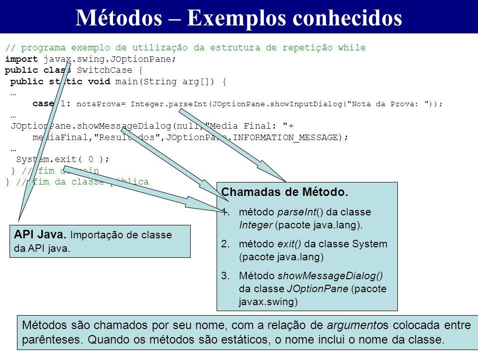 // programa exemplo de utilização da estrutura de repetição while import javax.swing.JOptionPane; public class SwitchCase { public static void main(St