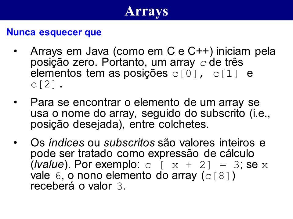 Arrays Arrays em Java (como em C e C++) iniciam pela posição zero. Portanto, um array c de três elementos tem as posições c[0], c[1] e c[2]. Para se e