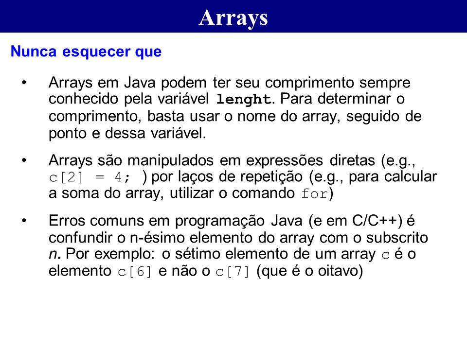Arrays Arrays em Java podem ter seu comprimento sempre conhecido pela variável lenght. Para determinar o comprimento, basta usar o nome do array, segu