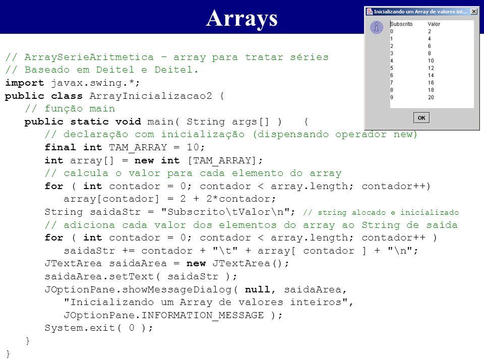 Arrays // ArraySerieAritmetica – array para tratar séries // Baseado em Deitel e Deitel. import javax.swing.*; public class ArrayInicializacao2 { // f