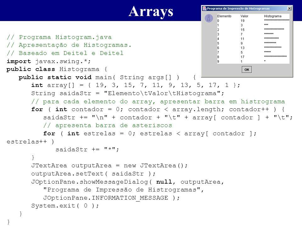 // Programa Histogram.java // Apresentação de Histogramas. // Baseado em Deitel e Deitel import javax.swing.*; public class Histograma { public static