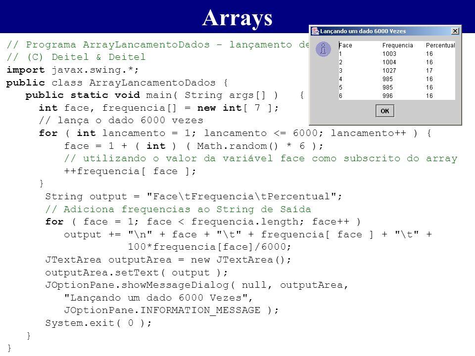 // Programa ArrayLancamentoDados - lançamento de 6000 vezes de um dado // (C) Deitel & Deitel import javax.swing.*; public class ArrayLancamentoDados