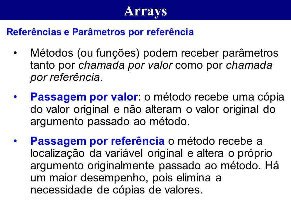 Arrays Métodos (ou funções) podem receber parâmetros tanto por chamada por valor como por chamada por referência. Passagem por valor: o método recebe