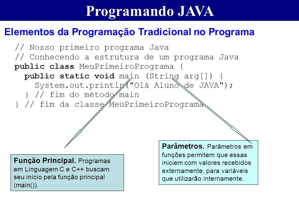 Programando JAVA Elementos da Programação Tradicional no Programa // Nosso primeiro programa Java // Conhecendo a estrutura de um programa Java public