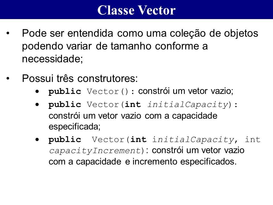 Classe Vector Pode ser entendida como uma coleção de objetos podendo variar de tamanho conforme a necessidade; Possui três construtores: public Vector
