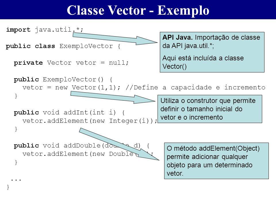 Classe Vector - Exemplo import java.util.*; public class ExemploVector { private Vector vetor = null; public ExemploVector() { vetor = new Vector(1,1)