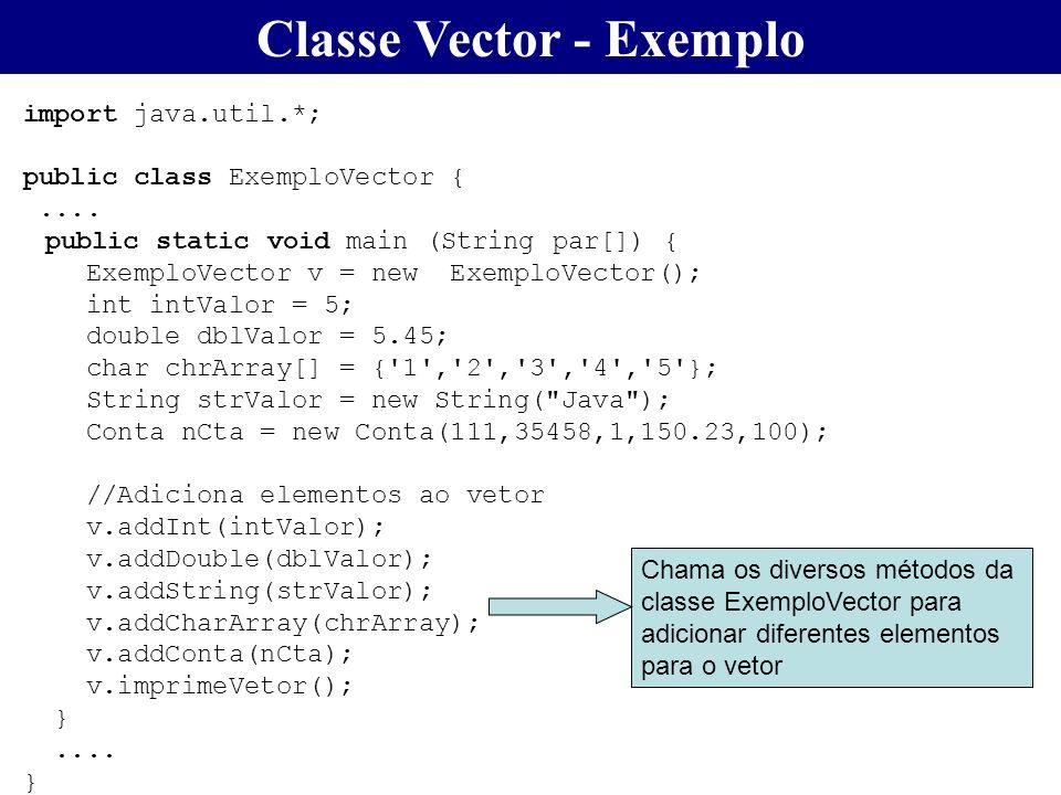 Classe Vector - Exemplo import java.util.*; public class ExemploVector {.... public static void main (String par[]) { ExemploVector v = new ExemploVec
