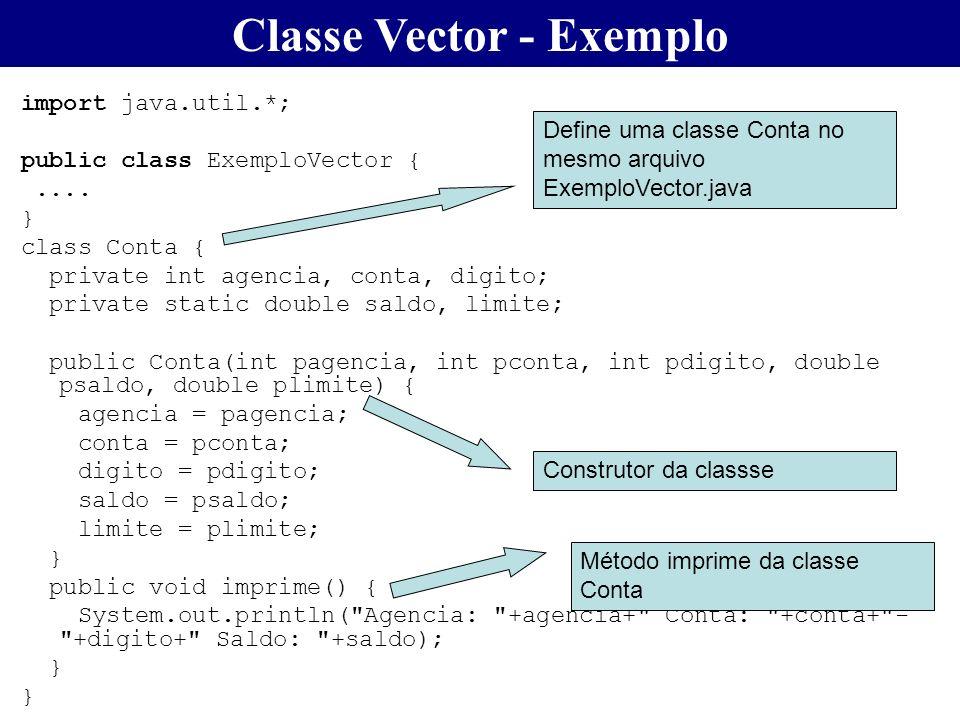 Classe Vector - Exemplo import java.util.*; public class ExemploVector {.... } class Conta { private int agencia, conta, digito; private static double