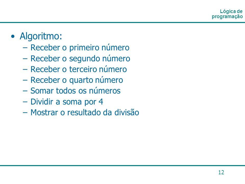 12 Algoritmo: –Receber o primeiro número –Receber o segundo número –Receber o terceiro número –Receber o quarto número –Somar todos os números –Dividi