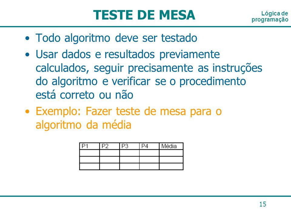 15 Lógica de programação TESTE DE MESA Todo algoritmo deve ser testado Usar dados e resultados previamente calculados, seguir precisamente as instruçõ