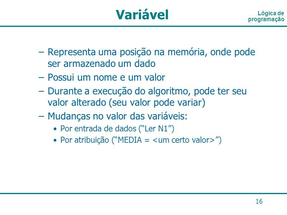 16 Lógica de programação Variável –Representa uma posição na memória, onde pode ser armazenado um dado –Possui um nome e um valor –Durante a execução