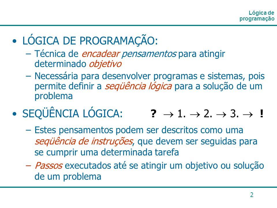 2 LÓGICA DE PROGRAMAÇÃO: –Técnica de encadear pensamentos para atingir determinado objetivo –Necessária para desenvolver programas e sistemas, pois pe