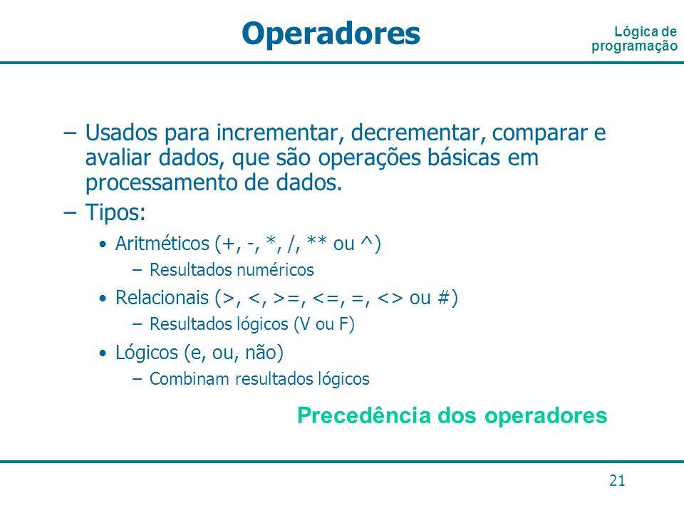 21 –Usados para incrementar, decrementar, comparar e avaliar dados, que são operações básicas em processamento de dados. –Tipos: Aritméticos (+, -, *,