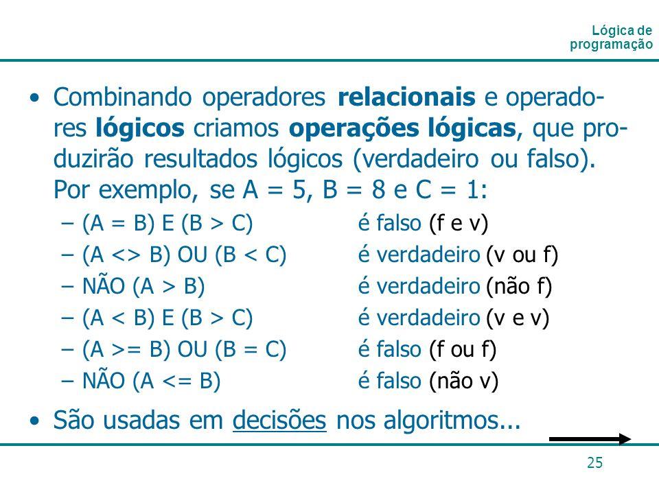 25 Combinando operadores relacionais e operado- res lógicos criamos operações lógicas, que pro- duzirão resultados lógicos (verdadeiro ou falso). Por