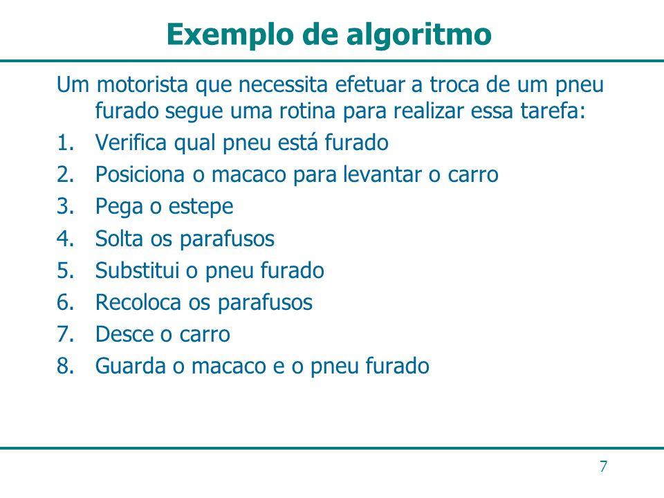 7 Exemplo de algoritmo Um motorista que necessita efetuar a troca de um pneu furado segue uma rotina para realizar essa tarefa: 1.Verifica qual pneu e