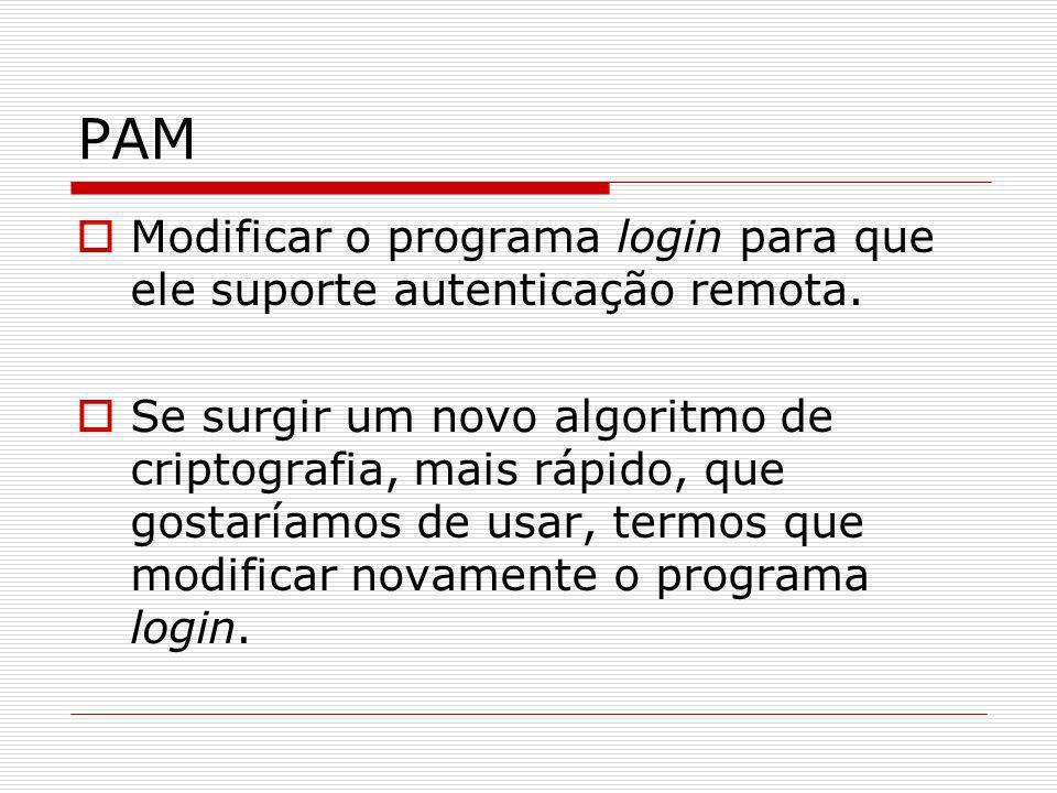 PAM Modificar o programa login para que ele suporte autenticação remota. Se surgir um novo algoritmo de criptografia, mais rápido, que gostaríamos de