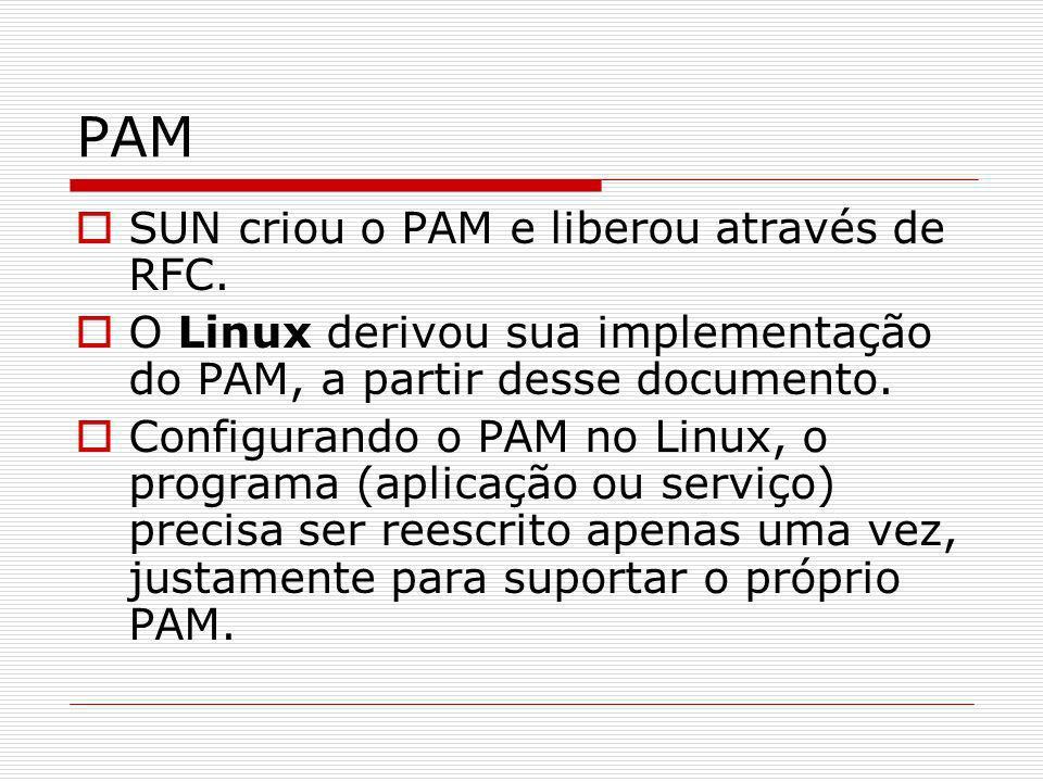 PAM SUN criou o PAM e liberou através de RFC. O Linux derivou sua implementação do PAM, a partir desse documento. Configurando o PAM no Linux, o progr
