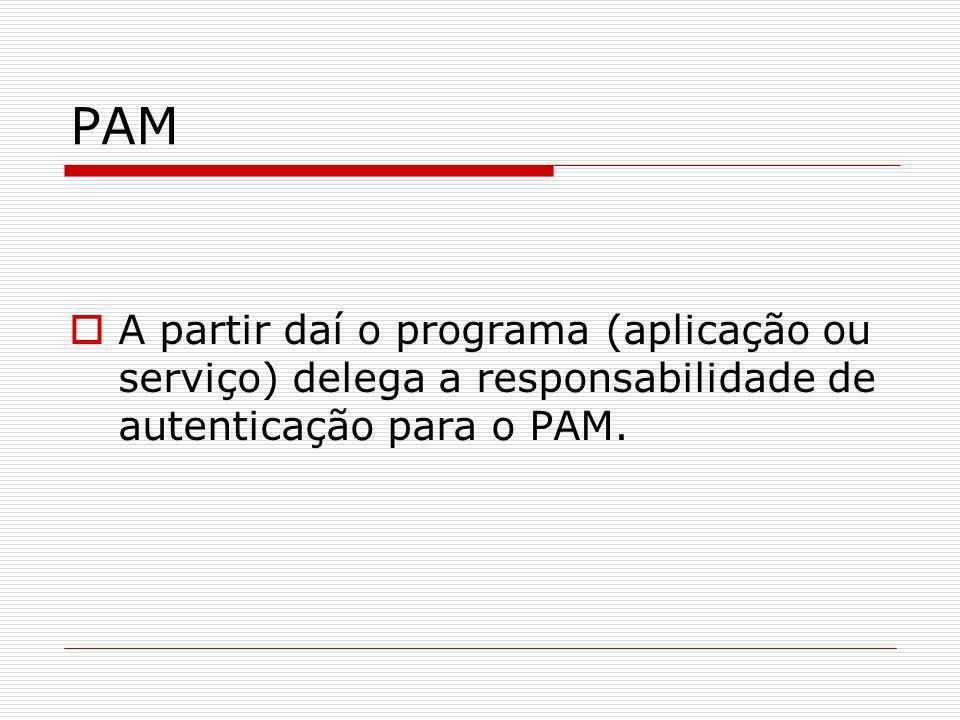 PAM A partir daí o programa (aplicação ou serviço) delega a responsabilidade de autenticação para o PAM.