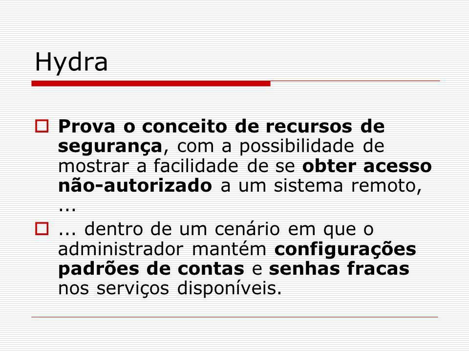 Hydra Prova o conceito de recursos de segurança, com a possibilidade de mostrar a facilidade de se obter acesso não-autorizado a um sistema remoto,...