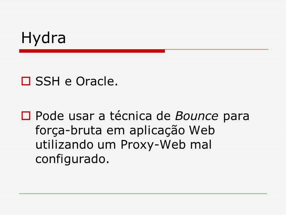 Hydra SSH e Oracle. Pode usar a técnica de Bounce para força-bruta em aplicação Web utilizando um Proxy-Web mal configurado.