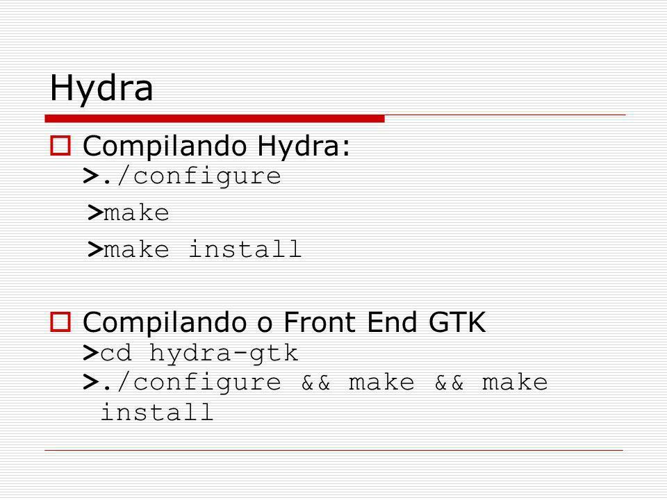 Hydra Compilando Hydra: >./configure >make >make install Compilando o Front End GTK >cd hydra-gtk >./configure && make && make install