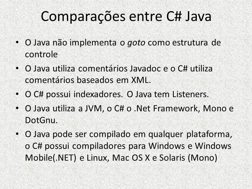 Comparações entre C# Java O Java não implementa o goto como estrutura de controle O Java utiliza comentários Javadoc e o C# utiliza comentários basead
