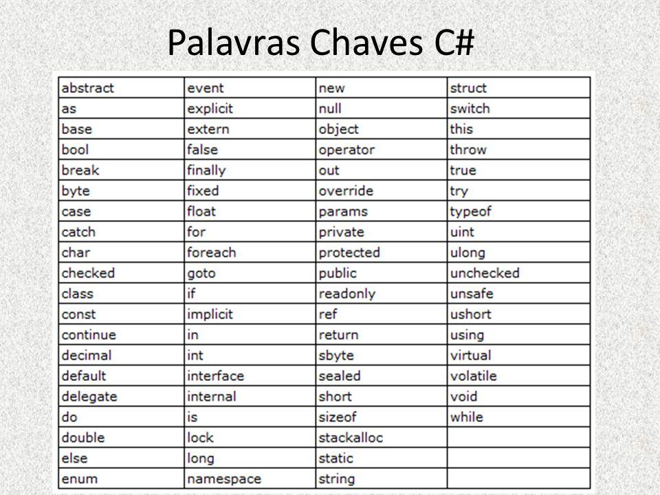 Palavras Chaves C#