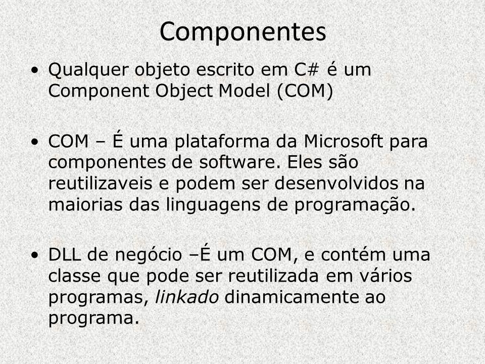 Componentes Qualquer objeto escrito em C# é um Component Object Model (COM) COM – É uma plataforma da Microsoft para componentes de software. Eles são