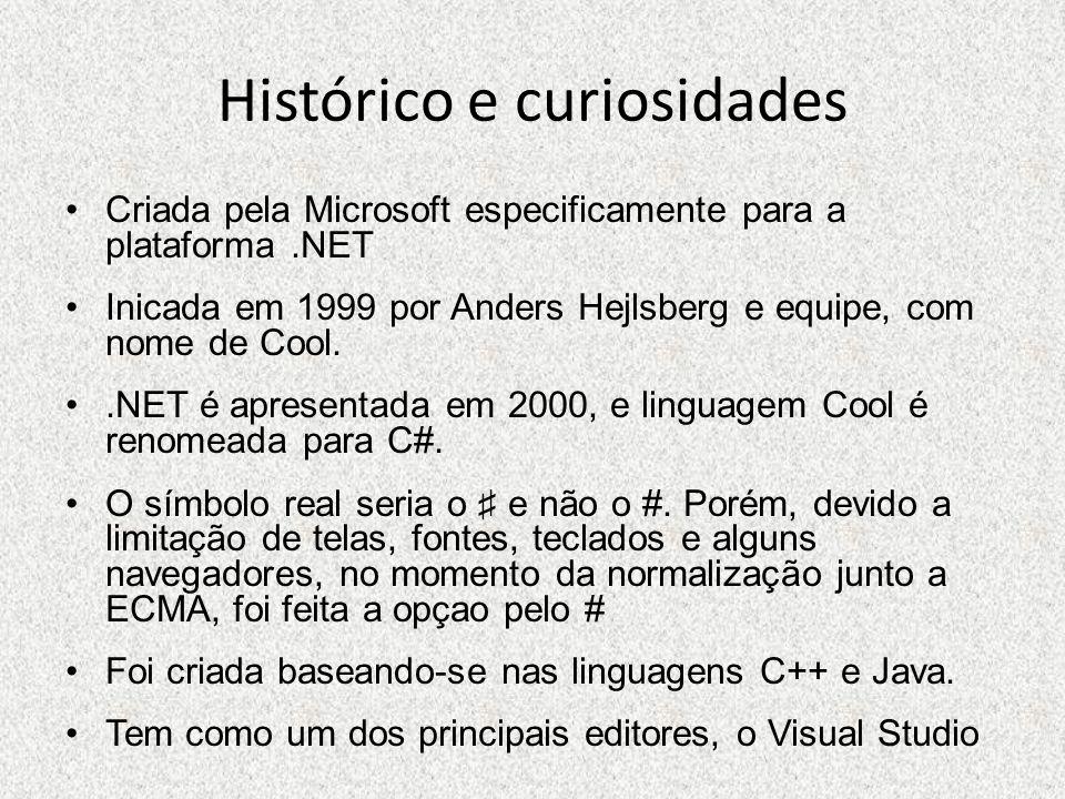 Histórico e curiosidades Criada pela Microsoft especificamente para a plataforma.NET Inicada em 1999 por Anders Hejlsberg e equipe, com nome de Cool..