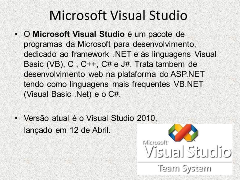 Microsoft Visual Studio O Microsoft Visual Studio é um pacote de programas da Microsoft para desenvolvimento, dedicado ao framework.NET e às linguagen