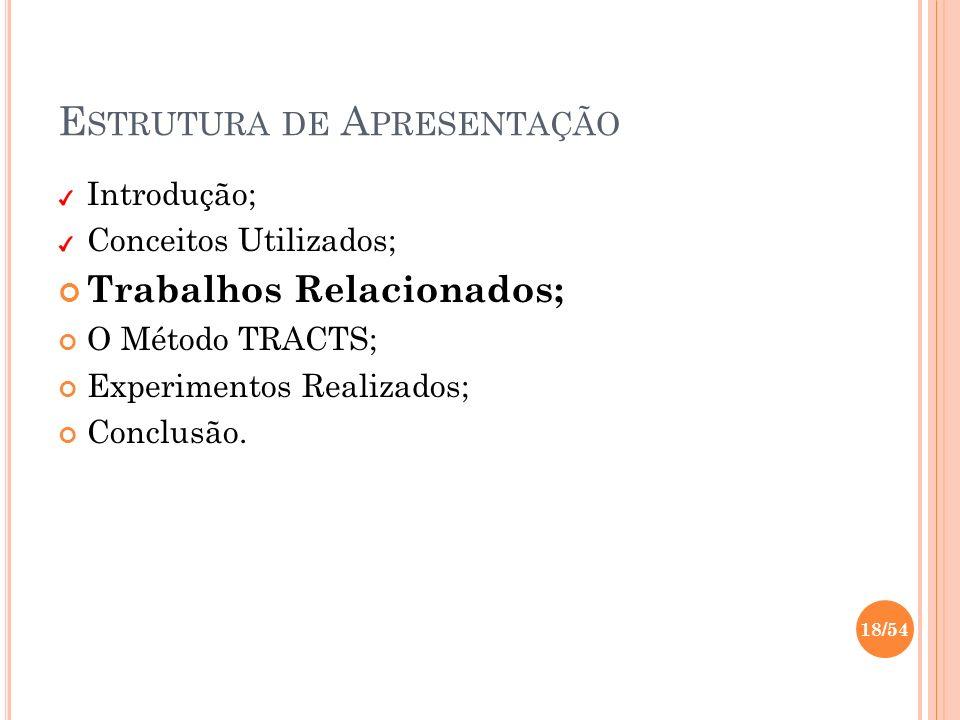 E STRUTURA DE A PRESENTAÇÃO Introdução; Conceitos Utilizados; Trabalhos Relacionados; O Método TRACTS; Experimentos Realizados; Conclusão. 18/54