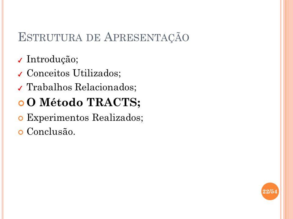 E STRUTURA DE A PRESENTAÇÃO Introdução; Conceitos Utilizados; Trabalhos Relacionados; O Método TRACTS; Experimentos Realizados; Conclusão. 22/54