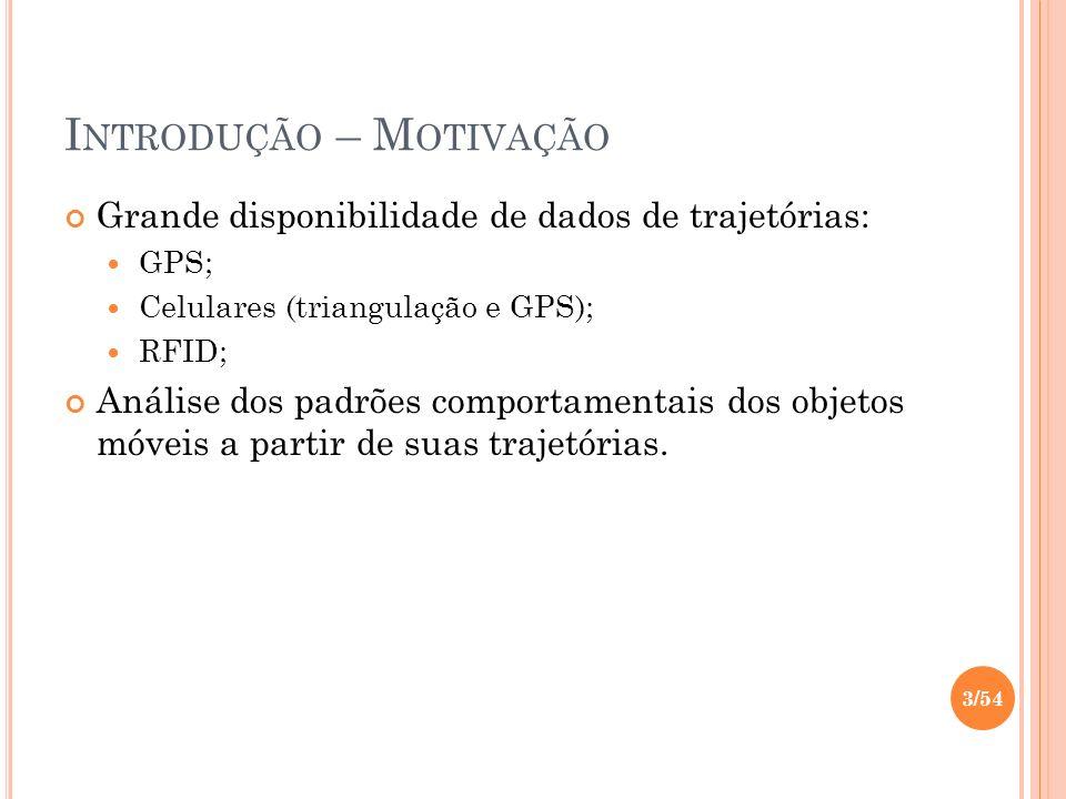 I NTRODUÇÃO – M OTIVAÇÃO Grande disponibilidade de dados de trajetórias: GPS; Celulares (triangulação e GPS); RFID; Análise dos padrões comportamentai
