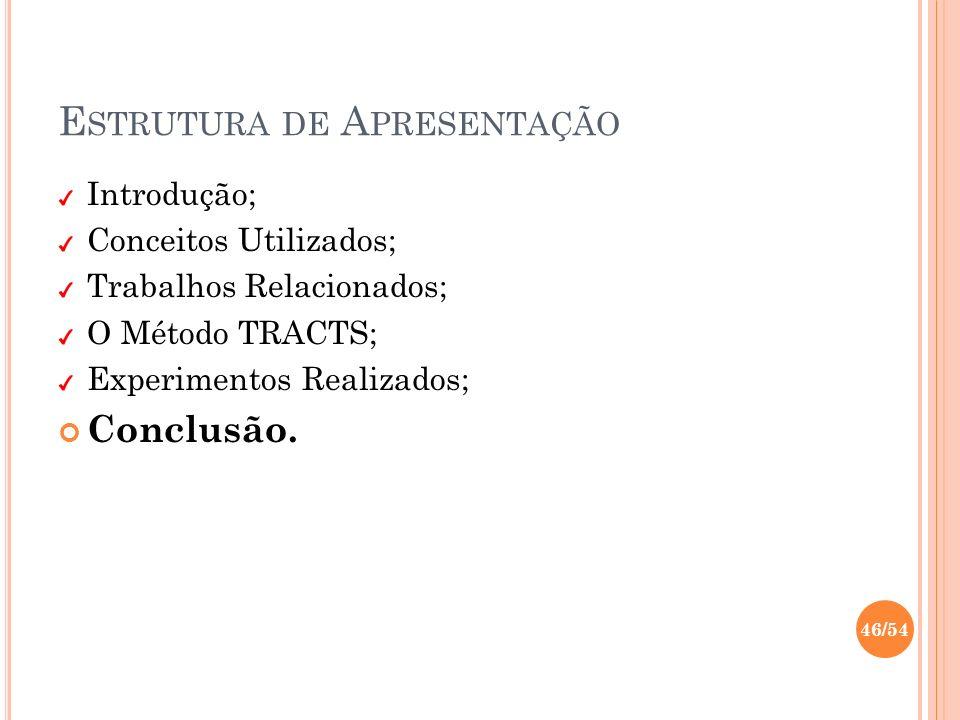 E STRUTURA DE A PRESENTAÇÃO Introdução; Conceitos Utilizados; Trabalhos Relacionados; O Método TRACTS; Experimentos Realizados; Conclusão. 46/54