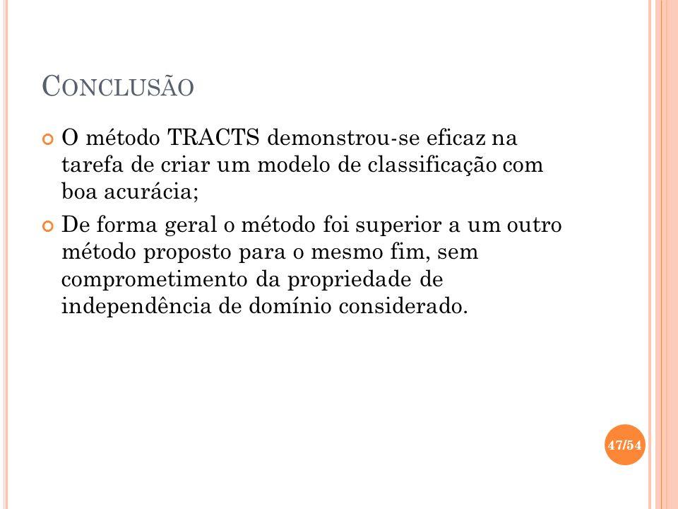 C ONCLUSÃO O método TRACTS demonstrou-se eficaz na tarefa de criar um modelo de classificação com boa acurácia; De forma geral o método foi superior a