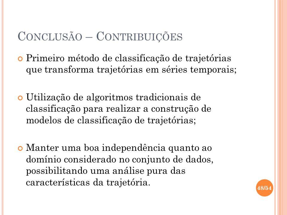 C ONCLUSÃO – C ONTRIBUIÇÕES Primeiro método de classificação de trajetórias que transforma trajetórias em séries temporais; Utilização de algoritmos t