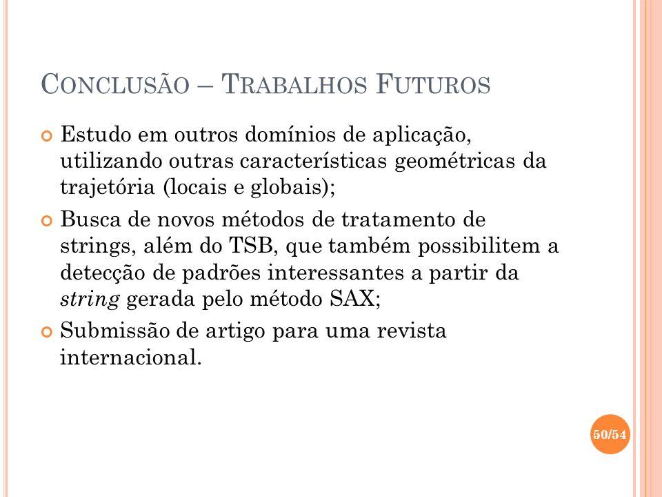 C ONCLUSÃO – T RABALHOS F UTUROS Estudo em outros domínios de aplicação, utilizando outras características geométricas da trajetória (locais e globais