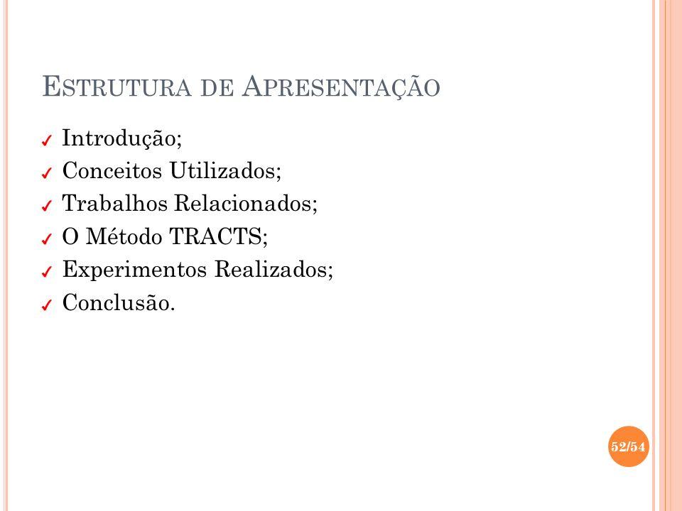 E STRUTURA DE A PRESENTAÇÃO Introdução; Conceitos Utilizados; Trabalhos Relacionados; O Método TRACTS; Experimentos Realizados; Conclusão. 52/54