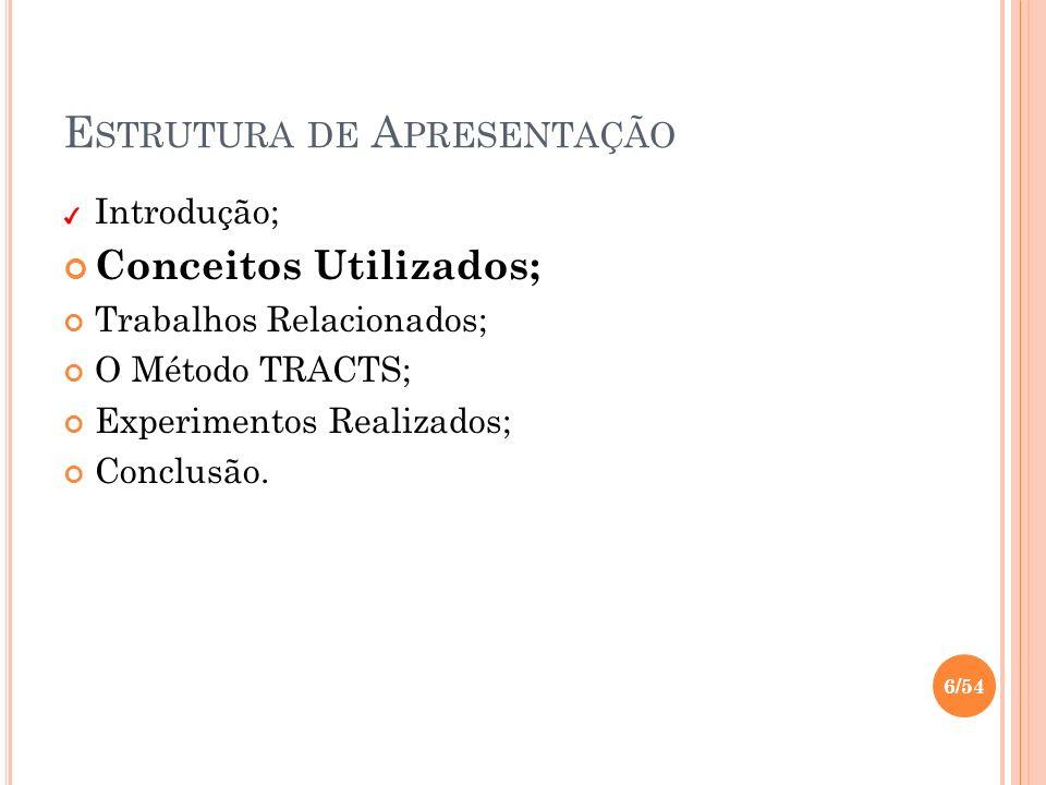 E STRUTURA DE A PRESENTAÇÃO Introdução; Conceitos Utilizados; Trabalhos Relacionados; O Método TRACTS; Experimentos Realizados; Conclusão. 6/54