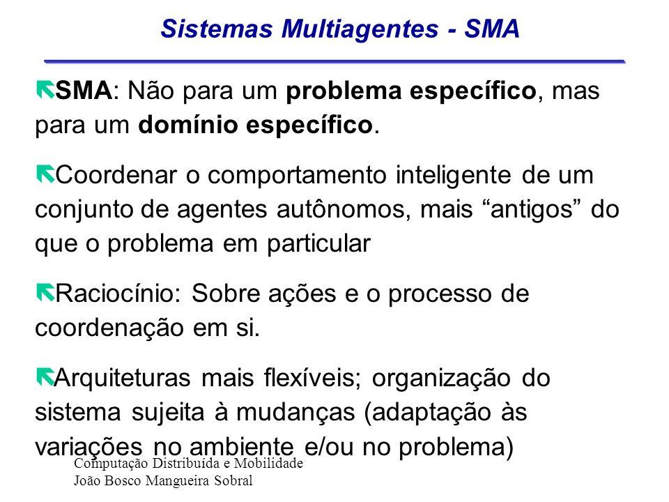 Resolução Distribuída de Problemas ë RDP: Os agentes são projetados especificamente para resolver aquele problema ou uma classe de problemas. ëOs agen