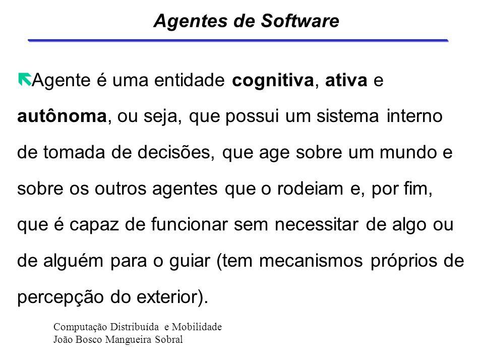Agentes de Software ë Programa de software que auxilia o usuário na realização de alguma tarefa ou atividade. ë Entidade inteligente e autônoma. ë Pro