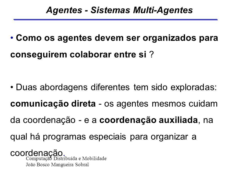 Agentes - Protocolos de Agentes Se os agentes interagem em uma rede remota de comunicação, eles devem possuir um protocolo de comunicação. Este protoc
